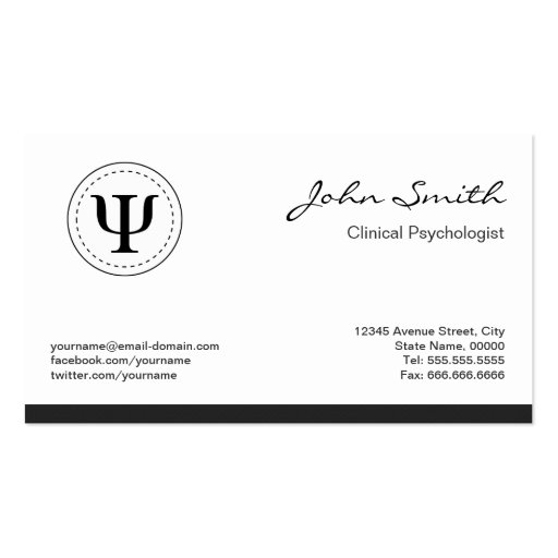 Clinical Psychologist - Psychology Psi Symbol Business Card Templates