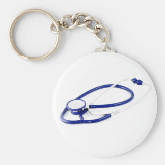 Clinical Stethoscope Basic Round Button Keychain