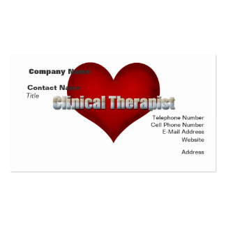 Clinical Therapist chrome font and Red Heart Business Card