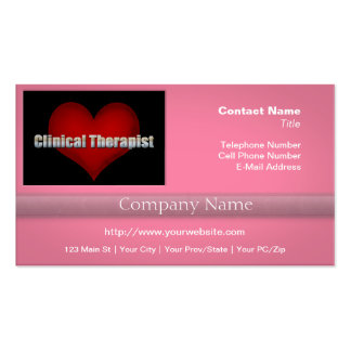 Clinical Therapist chrome font and Red Heart Business Card Template