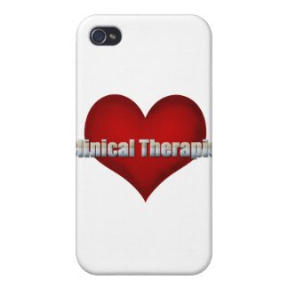 Clinical Therapist chrome font and Red Heart iPhone 4 Case