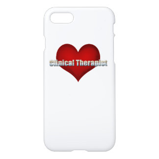 Clinical Therapist chrome font and Red Heart iPhone 7 Case