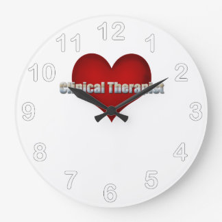 Clinical Therapist chrome font and Red Heart Large Clock
