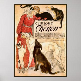 Clinique Cheron Vintage Veterinary Advertisement Poster