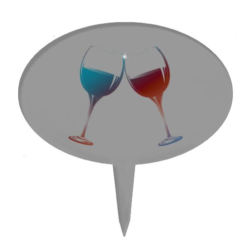 Clinking Sparkle Wine Glasses Art Cake Toppers