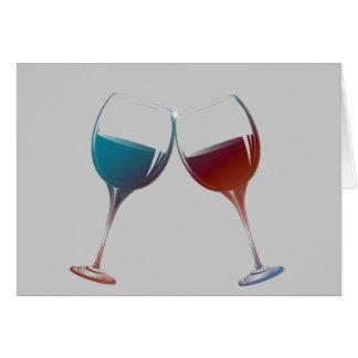 Clinking Sparkle Wine Glasses Art Card