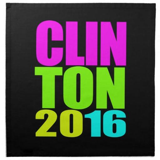 CLINTON 2016 NEON.png Cloth Napkins