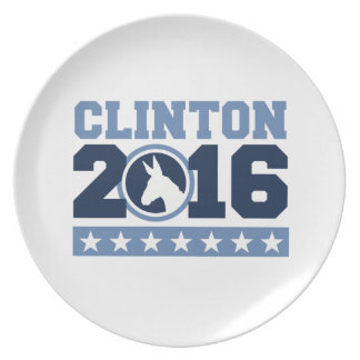 CLINTON 2016 ROUND DONKEY PARTY PLATE