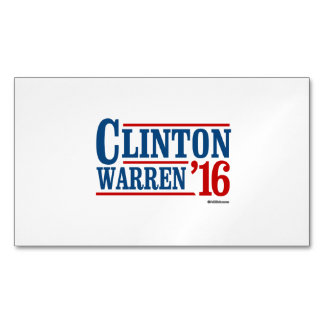 Clinton and Warren in 2016 - Running Mates Magnetic Business Card