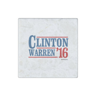Clinton and Warren in 2016 - Running Mates Stone Magnet