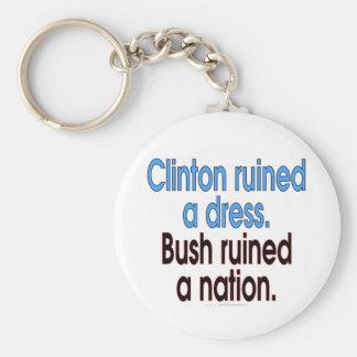 Clinton arruinó un vestido. Bush arruinó una nació Llavero Redondo Tipo Pin