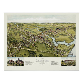 Clinton, CT Panoramic Map - 1881 Posters