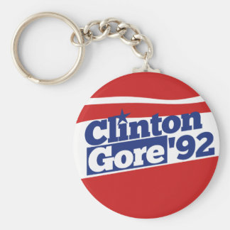 Clinton Gore 92 Basic Round Button Keychain