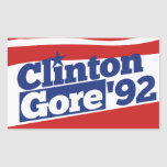 Clinton Gore 92 Rectangular Pegatinas