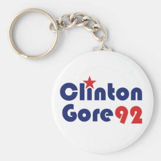 Clinton Gore 92 Retro Democrat Basic Round Button Keychain