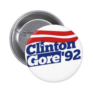 Clinton Gore 92 retro politics Pinback Buttons
