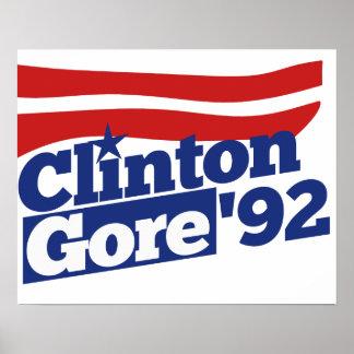 Clinton Gore 92 retro politics Poster