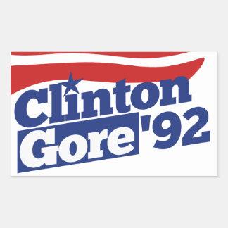 Clinton Gore 92 retro politics Rectangular Sticker