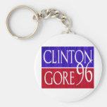 Clinton Gore 96 Distressed Design Basic Round Button Keychain