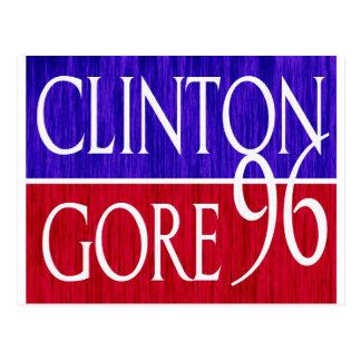 Clinton Gore 96 Distressed Design Postcard