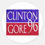 Clinton Gore 96 Distressed Design Classic Round Sticker