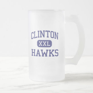 Clinton Hawks Middle Clinton Tennessee Frosted Glass Beer Mug