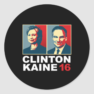 Clinton Kaine 16 - Posterized -- Classic Round Sticker
