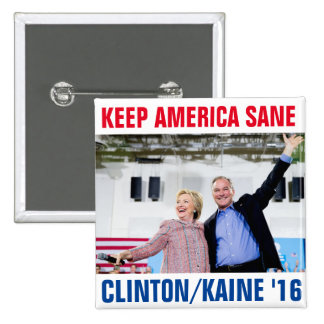 Clinton/Kaine 2016 Pin Cuadrado