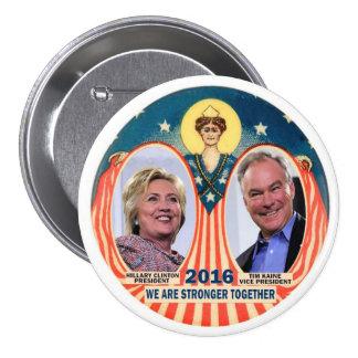 Clinton/Kaine 2016 Pin Redondo De 3 Pulgadas