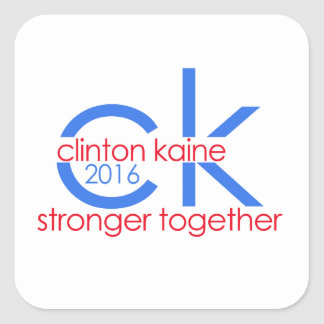 Clinton Kaine 2016 Stronger Together Square Sticker