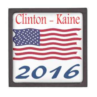 Clinton  Kaine waving flag Keepsake Box