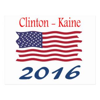 Clinton  Kaine waving flag Postcard