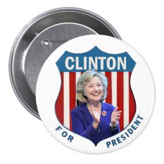 Clinton para el presidente 2016 pin redondo 7 cm