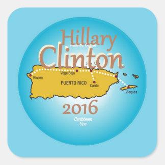 Clinton Puerto Rico 2016 Calcomanía Cuadradase