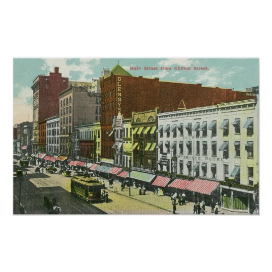 Clinton Street View of Main Street Poster