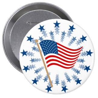 Clip art de la bandera americana del vintage pin redondo de 4 pulgadas