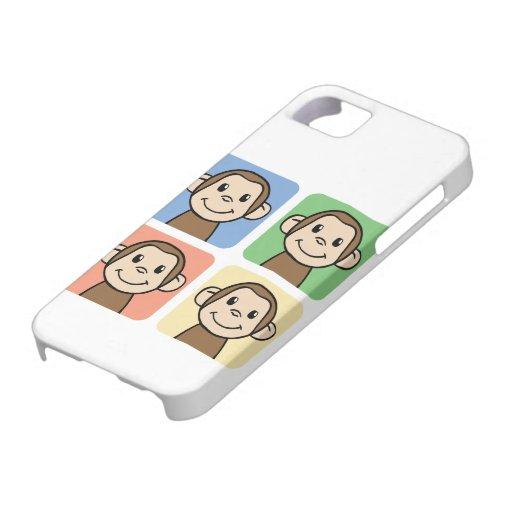 Clip art del dibujo animado con 4 monos felices iPhone 5 carcasa