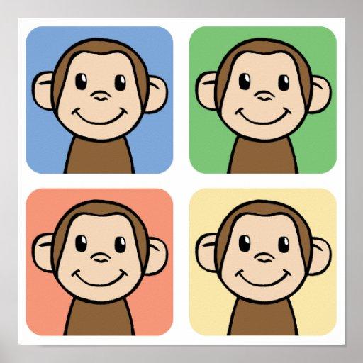 Clip art del dibujo animado con 4 monos felices poster
