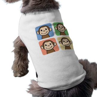 Clip art del dibujo animado con 4 monos felices ropa para mascota
