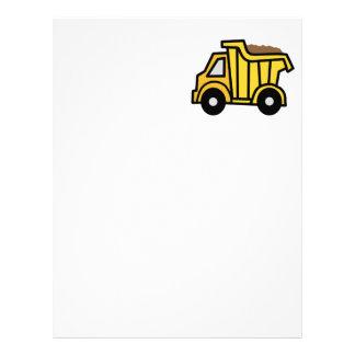 Clip art del dibujo animado con un camión volquete membrete a diseño