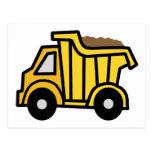 Clip art del dibujo animado con un camión volquete tarjeta postal