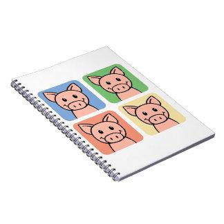 ¡Clip art del dibujo animado que ríe los cerdos Cuaderno