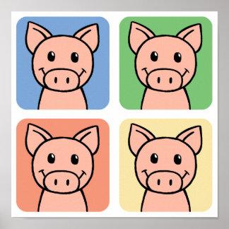 ¡Clip art del dibujo animado que ríe los cerdos Póster