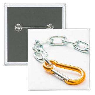 Clip de cadena del oro y de la plata con vínculos pin cuadrado