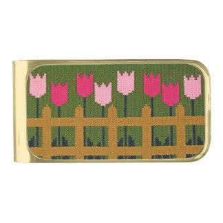 Clip del dinero del jardín de los tulipanes (oro clip para billetes dorado