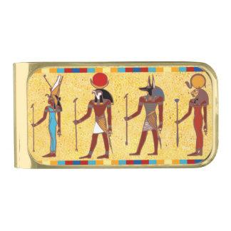 Clip egipcio antiguo del dinero de dioses 3 clip para billetes dorado
