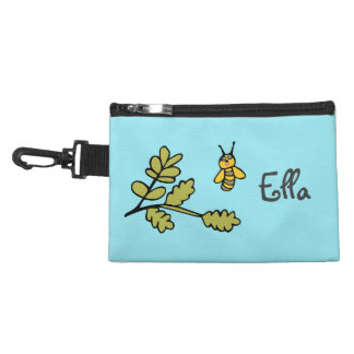 Clip On Accessory Bag with Bee and Name