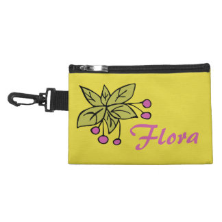 Clip On Accessory Bag with Pink Berries and Name