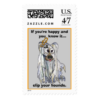 Clip Your Hounds Afghan Custom Postage Stamps