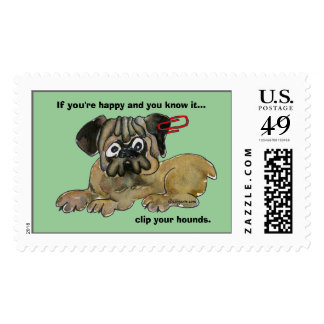 Clip Your Hounds Pug Custom Postage Stamps